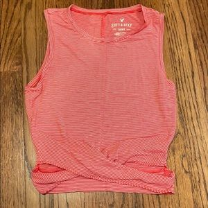 American Eagle Outfitters Red and White Tank